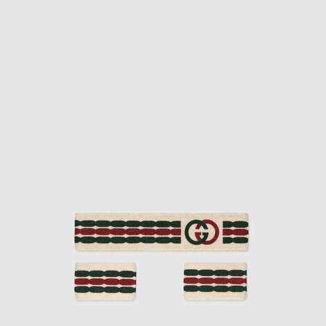 互扣式 G 条纹发带和腕带