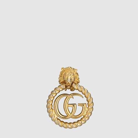 饰双 G 单边狮头耳环