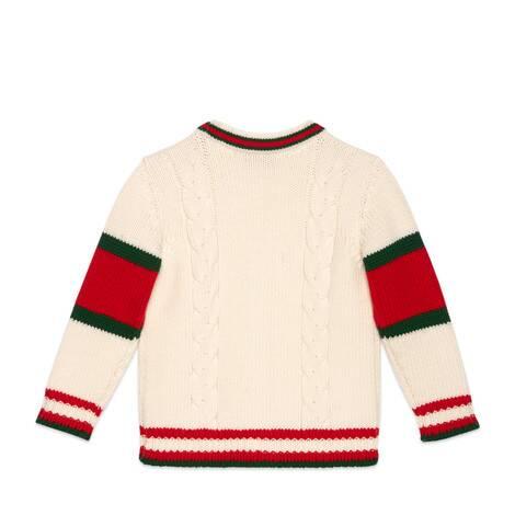 儿童绞花针织羊毛开衫