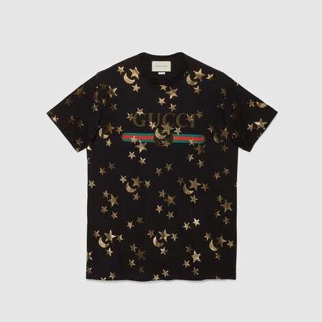 星月印花 T 恤