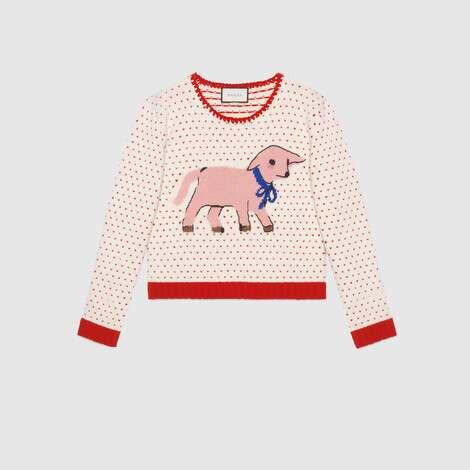小羊嵌花心形羊毛毛衣