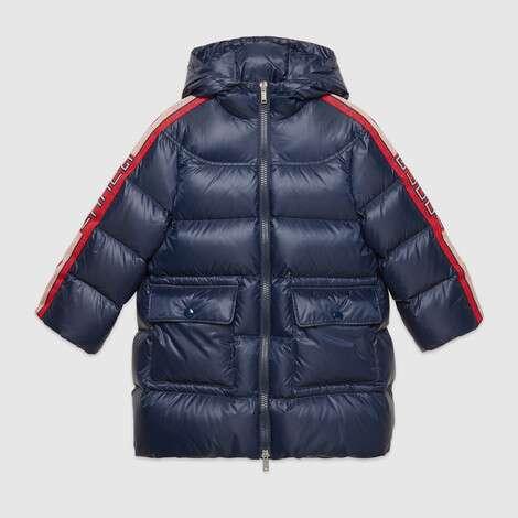 儿童 Gucci 条纹尼龙大衣