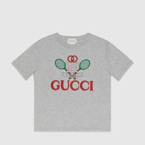 儿童 Gucci 网球刺绣 T 恤