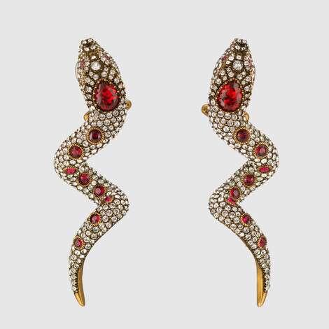 饰水晶灵蛇造型耳环