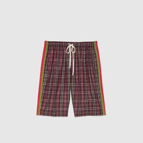 超大造型苏格兰格纹棉布短裤