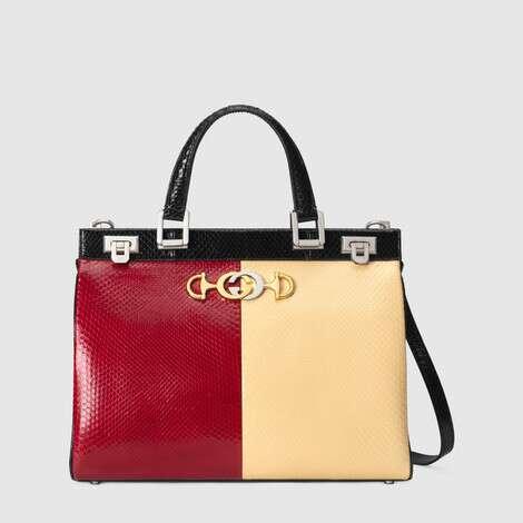 Gucci Zumi 系列蛇皮中号手提包
