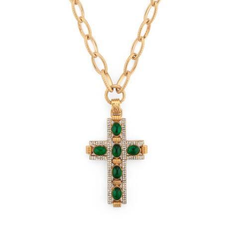 饰弧面宝石十字架项链