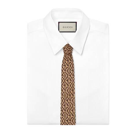 G 菱形印花真丝领带