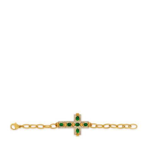 饰弧面宝石十字架手镯