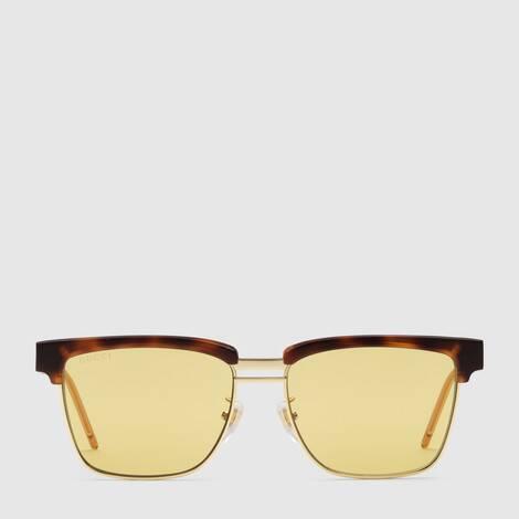 方形镜框金属醋纤太阳眼镜