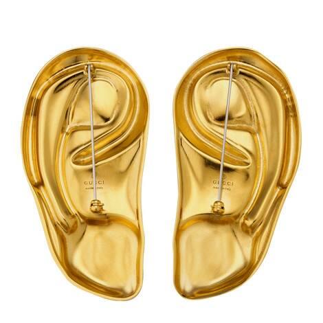 饰弧面宝石金属耳朵造型胸针