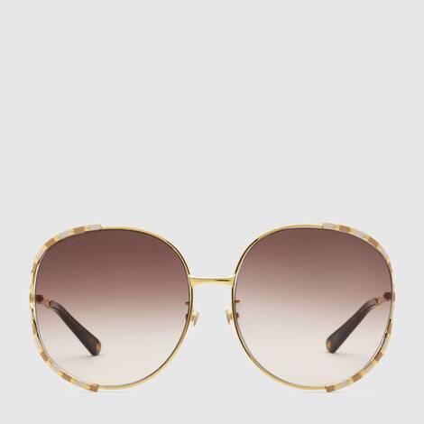 圆形镜框金属太阳眼镜