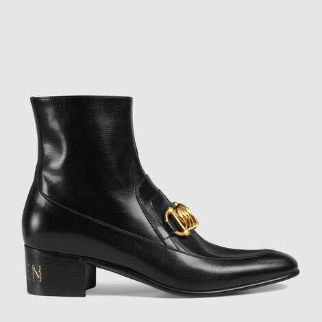 男士皮革马衔扣链短靴