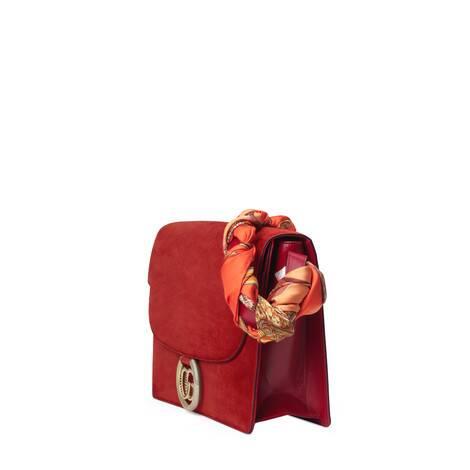 饰丝巾中号麂皮肩背包