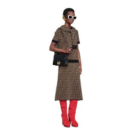 G 菱形金银丝线羊毛提花半身裙