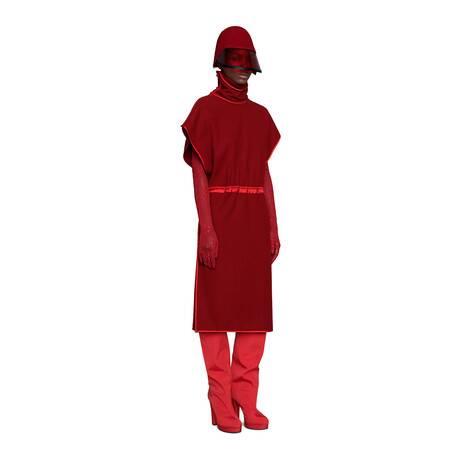 法兰绒羊毛混纺连衣裙