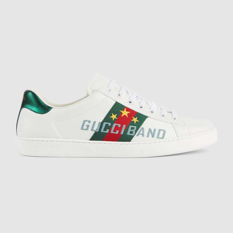 Gucci 'new Ace' Slogan Embroidered Contrast Counter Sneakers In White Leather
