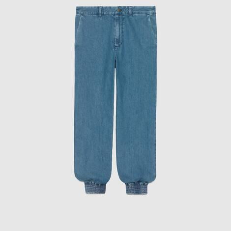 牛仔布慢跑长裤