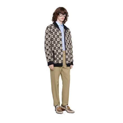 Gucci 棋盘格纹羊毛夹克