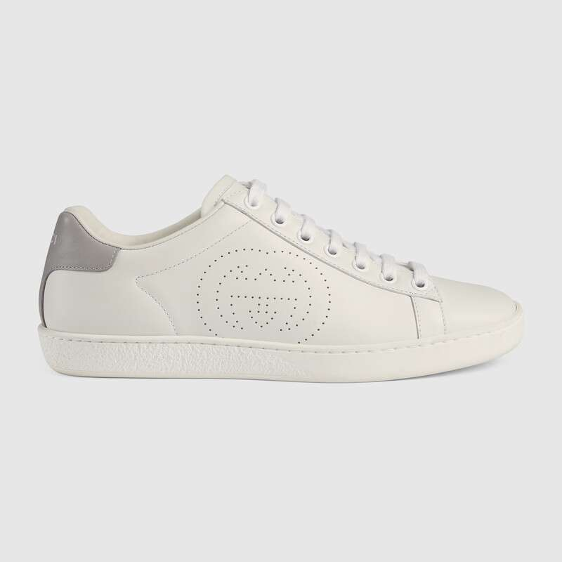 Gucci New Ace Perforated Logo Leather Trainers In Weiß