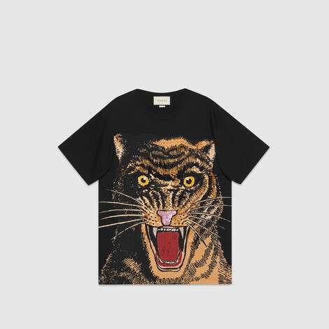 猫科动物印花超大造型 T 恤
