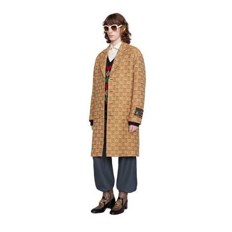 饰标签织纹 G 羊毛大衣