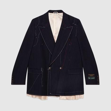 饰缝线效果不对称细条纹夹克