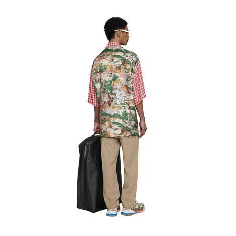 超大造型印花真丝保龄球衫