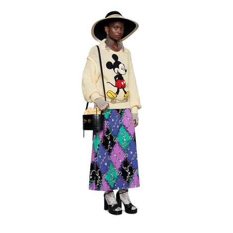 GG菱形花卉图案印花半身裙