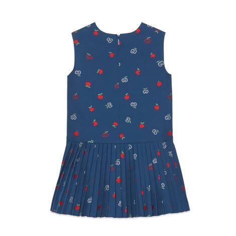 儿童GG苹果图案切丝连衣裙