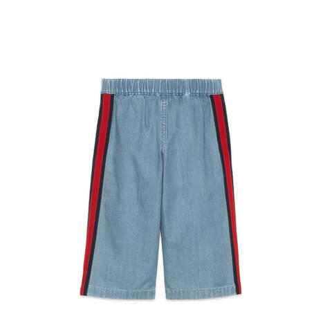 儿童条纹织带牛仔裤