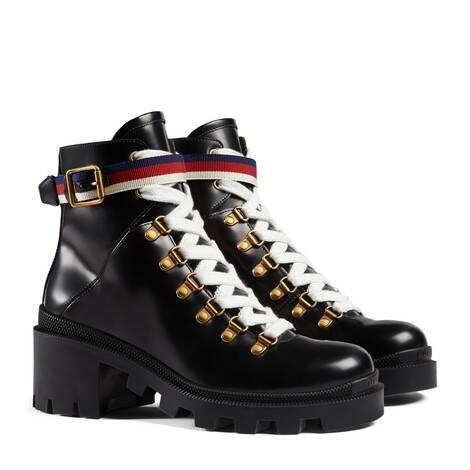 Sylvie系列织带装饰皮革及踝靴