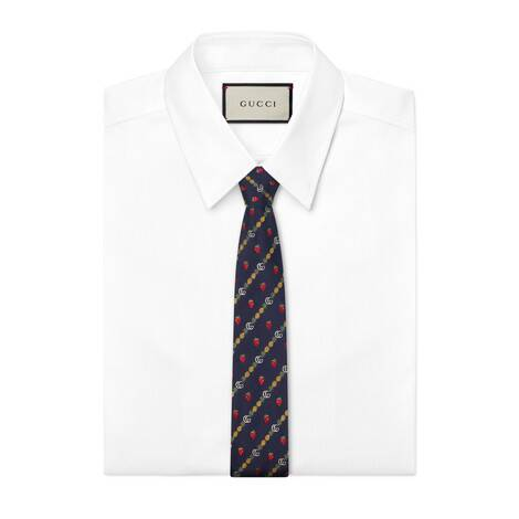 饰双G、菠萝和草莓印花真丝领带