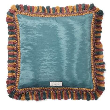老虎刺绣天鹅绒靠垫