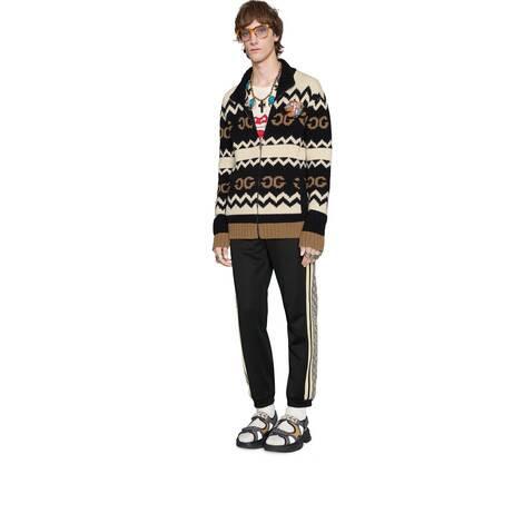 超大造型平纹针织慢跑长裤