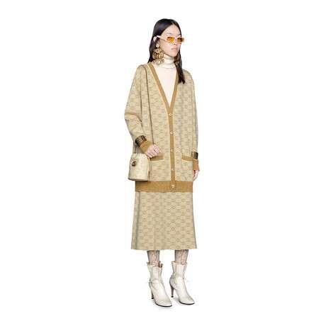 互扣式G金银丝线羊毛半身裙