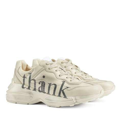 """Rhyton系列""""think/thank""""印花男士运动鞋"""