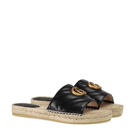 皮革草編涼鞋