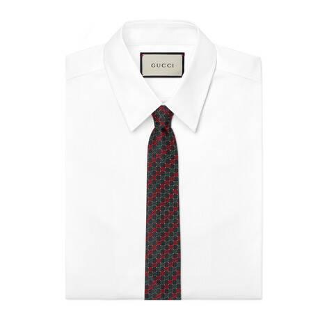 互扣式双G真丝领带
