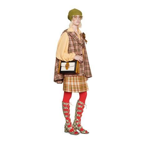 饰马衔扣格纹羊毛半身裙