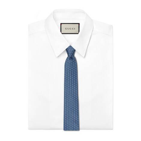 互扣式双G马衔扣真丝领带