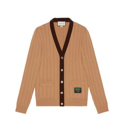 Gucci标签罗纹针织羊毛开衫