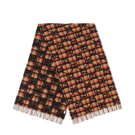 双G提花格纹围巾