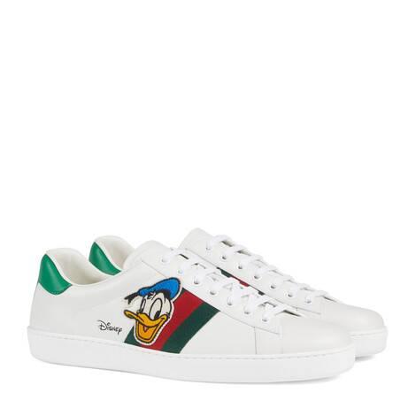 Disney x Gucci Ace系列唐老鸭印花男士运动鞋