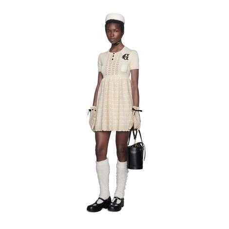 饰G贴饰羊毛针织短款连衣裙