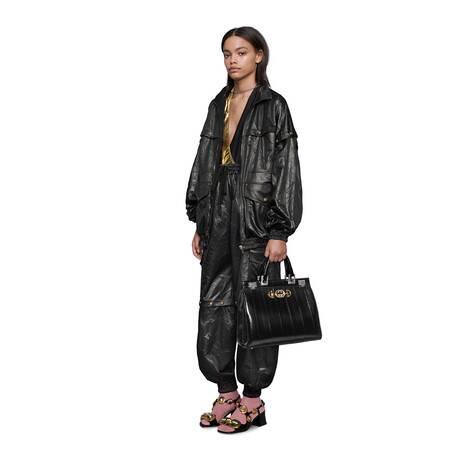 Gucci Zumi系列蛇皮中号手提包