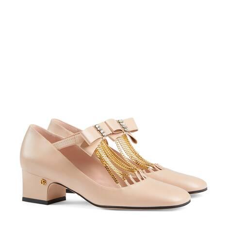 女士水晶蝴蝶结中跟浅口鞋