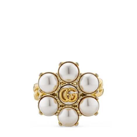 珍珠双G戒指