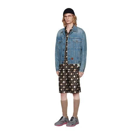 Ken Scott x Gucci印花真丝保龄球衫