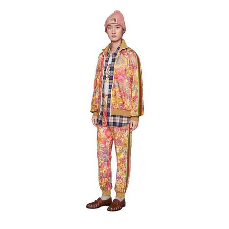 官网专享The North Face x Gucci联名系列花卉印花平纹针织慢跑长裤
